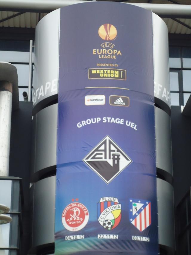 Banner da Europa League no Estádio EFAPEL. Projeção internacional.